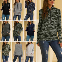 US Women Camo Hoodies Sweatshirt Ladies Baggy Hooded Autumn Pullover Tops Blouse