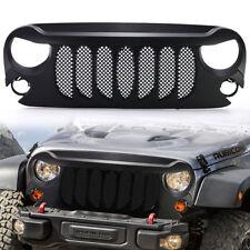 BEAST Front Bumper Grille w/ Mesh for Jeep Wrangler JK 2007-2017 Matte Black