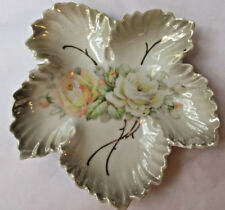 Vintage Leuchtenburg Germany Porcelain Leaf Plate Roses / Great Gift * Dish