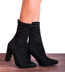 Armario de Zapatos Gris Negro Con Cordones Botas Hasta La Rodilla Bloque Tacón Talla 3 4 5 6 7