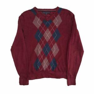 Vintage Tommy Hilfiger Argyle Print Jumper V Neck Sweater Burgundy XS