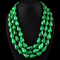 1765.00 CTS EARTH MINED 3 STRAND RICH GREEN EMERALD PEAR FACETED BEADS NECKLACE