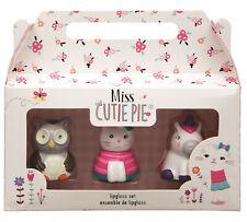 Miss Cutie Pie 3 Lip Gloss Gift Set Hand Painted Unicorn Cat Owl Stocking Filler