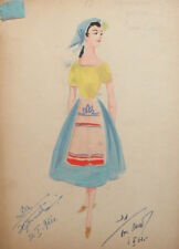 1961 Costume design girl portrait watercolor drawing signed