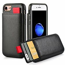 "IPhone 7 Case Leather Protective Wallet With Credit Card Slot Holder 4.7"" Black"