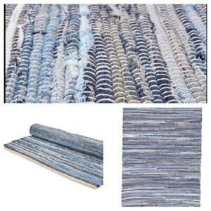 TRIDNT Handmade Recycled Denim Blue Chindi Loomed, Rag Rug Woven Strip Rug India