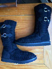 "UGG Australia Tularosa Route Cable Knit Women's Boots Size 7 Black/Black ""RARE"""