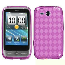 For HTC Freestyle TPU Candy Flexi Gel Crystal Skin Case Cover Hot Pink Plaid