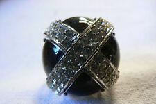 Silver Tone Black Clear Crystal Cross Mushrom Dome Large Fashion Ring sz 8.5