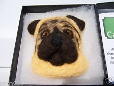 Canine Cameos By Artichaut France Needle Felted Wool Pug Dog Cameo Pin NEW