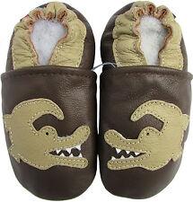 carozoo soft leather toddler shoes crocodile dark brown 4-5y