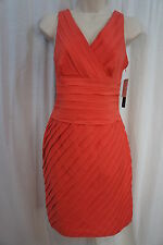Andrew Marc Dress Sz 4 Coral Orange Sleeveless Business Dinner Chic Dress