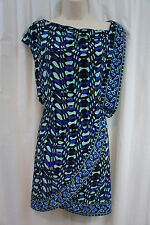 Nine West Dress Sz 2 Blue Green Black Multi Combo Cinched Waist Business Dress