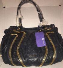 Louvier Black Leather Handbag..Embellished w/ Zippers & 7 Separate  Areas Inside