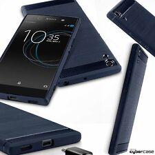 Xperia XA1 Case Impact Resistant Flex Micro Carbon Ballistic Design Blue