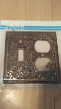 VINTAGE LOOKING ANTIQUE BRASS SINGLE LIGHT SWITCH PLATE OUTET COVER COMBO
