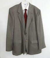 MEMBERS ONLY jacket blazer sport coat plaid silk worsted wool 2 button long 46L