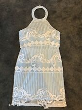 Boohoo Boutique Light Blue Lace Over Lay Halter Neck Dress Size 10 New