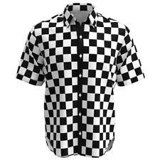 Black White Checkered Box Check Men Short Sleeve Button Shirt Size XS-3XL