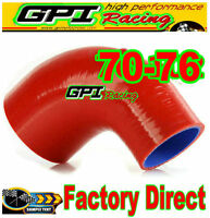"NEW Silicone 90 Degree Reducer Elbow Hose Tube Pipe 70mm - 76mm 2.75""- 3"" red"