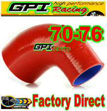 """Silicone 90 Degree Reducer Elbow Hose Tube Pipe 70mm - 76mm 2.75""""- 3"""" red"""