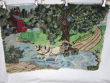 Vintage Hooked Yarn  Rug  Folk Art  24.5  X 37  Wagon Crossing Brook  Very Good