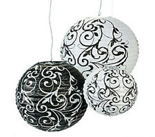 9 Black & White Paper Lanterns Party Decor Hanging Wedding Decoration Damask