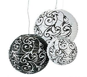 9 Black & White Paper Lanterns Party Decor Hanging Wedding Decoration Damask