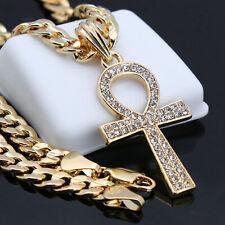 Men's Gold Plated Egyptian Cz Ankh Hip-Hop Pendant 24