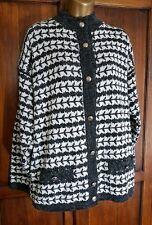 Ladies Vintage 80s Dogtooth Style Cardigan Coatigan Size 16 Pockets Grey White
