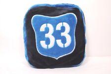Fodera cuscino con cerniera Gioseppo in peluche blu e turchese scritta 33
