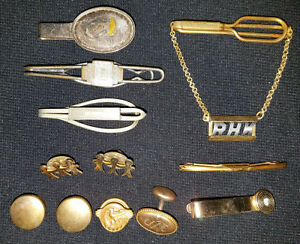 Vintage Lot Tie Clips, Cuff Links & Pins - Swank & Others