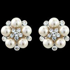 Pearl bridal studs earrings diamante wedding vintage style