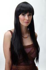 WIG ME UP Perruque pour Femme Très Long Lisse Frange Brun Foncé 70cm YZF-41062-4