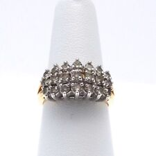 14k Gold 1ctw 3 Row Light Champagne Diamond Cocktail Cluster Ring Sz 7