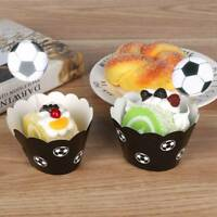 24pcs Cute Football Paper Cupcake Wrappers Toppers For Kids Party Birthday Decor