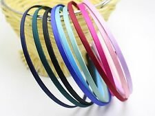 10 Mixed Color Metal Headband Covered Satin Hair Band 5mm for DIY Craft
