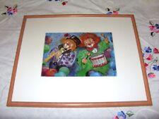 Ute S. Mertens, 2 lustige Clowns, Kunstdruck Wand Bild mit Rahmen