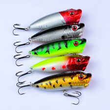 5pcs Lot Topwater Popper Bass Fishing Lures 7.3cm/11g Plastic Poper Tackle Bait