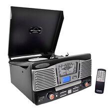 Retro Style Turntable Plays AM/FM Radio, MP3/WMA via USB/SD Card Readers