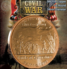 "Civil War ""Battle of Gettysburg"" 1oz .999 Copper Round Civil War Collection"
