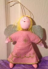 Felt yarn Christmas tree Angel Ornament decoration little doll Pink glitter wing