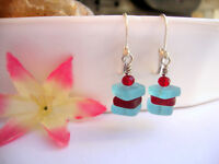 Stacked Caribbean Blue & Red Sea Glass Square Crystal Silver Leverback Earrings