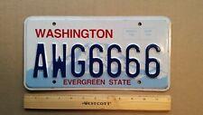License Plate, Washington, Quad 6: AWG 6666, Aw, Gee  6666