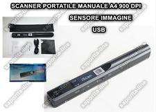 SCANNER PORTATILE MANUALE A4 900 DPI USB LCD MICRO SD CORDLESS SENSORE IMMAGINE