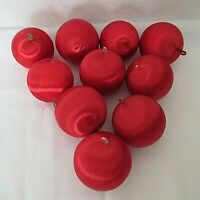 """Red Silk Christmas Ornaments Lot of 10 Craft 3"""" Vintage"""