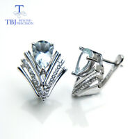 TBJ,elegant simple earring with natural aquamarine gemstone 925 sterling silver