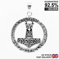925 Silver Thor's Hammer Mjolnir Norse Viking Runes Circle Pendant ✔️Solid