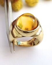 ANELLO IN ORO GIALLO 18KT CON PIETRA SIMIL AMBRA - 18KT SOLID YELLOW GOLD RING