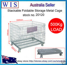 Collapsible Stackable Foldable Wire Mesh Stillage Pallet Cage Gal. Mesh Cages